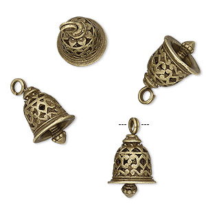charm, antique brass-finished pewter (zinc-based alloy), 16.5x12mm textured bell with cutout design. sold per pkg of 4.