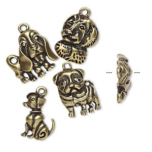 charm, antique brass-finished pewter (zinc-based alloy), 19x12mm-20x19mm single-sided assorted dog. sold per 4-piece set.