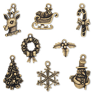 charm, antique brass-plated pewter (tin-based alloy), 12.5x9.5mm-23x17.5mm christmas theme. sold per 8-piece set.