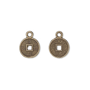 charm, antique brass-plated pewter (zinc-based alloy), 10mm double-sided chinese dynasty coin replica. sold per pkg of 100.