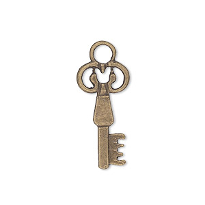 charm, antique brass-plated pewter (zinc-based alloy), 28x11mm key. sold per pkg of 10.