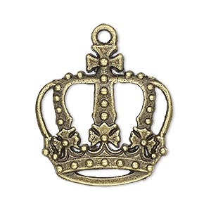 charm, antique brass-plated pewter (zinc-based alloy), 29x29mm single-sided crown with cutouts. sold per pkg of 4.