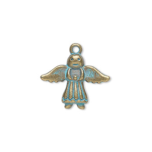 charm, antique copper-finished pewter (zinc-based alloy), green patina, 20x16mm single-sided angel. sold per pkg of 4.