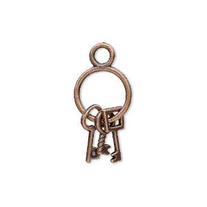 charm, antique copper-plated pewter (zinc-based alloy), 21x12mm double-sided old-fashioned key ring with (3) keys. sold per pkg of 10.