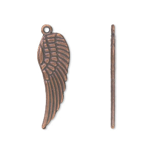 charm, antique copper-plated pewter (zinc-based alloy), 28x9mm double-sided wing. sold per pkg of 10.