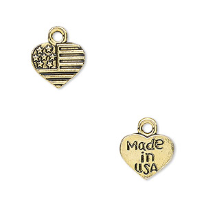 charm, antique gold-finished pewter (zinc-based alloy), 12x10mm two-sided heart with usa flag design and made in usa. sold per pkg of 20.