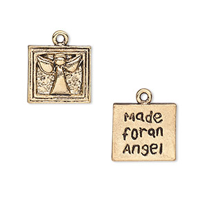 charm, antique gold-finished pewter (zinc-based alloy), 13x12mm two-sided square with angel design and made for an angel. sold per pkg of 10.