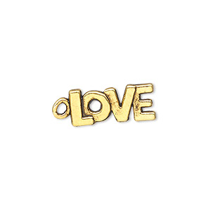 charm, antique gold-finished pewter (zinc-based alloy), 17x8mm single-sided love. sold per pkg of 50.