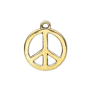 charm, antique gold-finished pewter (zinc-based alloy), 20mm peace sign. sold per pkg of 10.