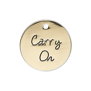 charm, antique gold-finished pewter (zinc-based alloy), 25mm single-sided flat round with carry on. sold individually.