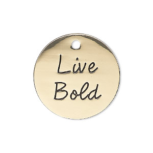 charm, antique gold-finished pewter (zinc-based alloy), 25mm single-sided flat round with live bold. sold individually.