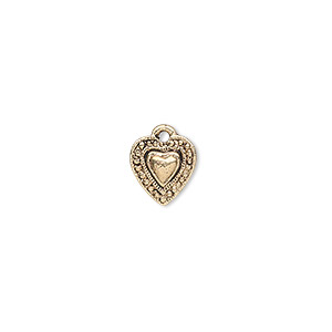 charm, antique gold-finished pewter (zinc-based alloy), 9x9mm single-sided beaded heart. sold per pkg of 20.