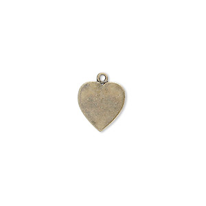 charm, antique gold-plated brass, 11x10mm heart. sold per pkg of 10.