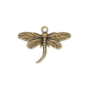charm, antique gold-plated brass, 26x15mm single-sided dragonfly. sold per pkg of 100.