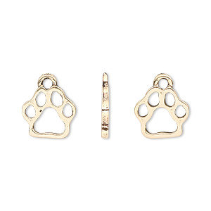 charm, antique gold-plated pewter (tin-based alloy), 13.5x11mm single-sided paw print. sold per pkg of 4.