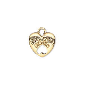 charm, antique gold-plated pewter (tin-based alloy), 14x13mm double-sided heart with best friend and open paw print. sold per pkg of 2.