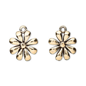 charm, antique gold-plated pewter (tin-based alloy), 14x14mm open petal flower. sold per pkg of 4.