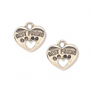 charm, antique gold-plated pewter (tin-based alloy), 15x13mm double-sided heart with best friend and dog paw cutout. sold per pkg of 2.