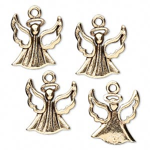 charm, antique gold-plated pewter (tin-based alloy), 16x15mm angel with cutout wings. sold per pkg of 4.