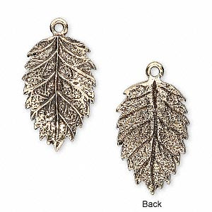 charm, antique gold-plated pewter (tin-based alloy), 23x15mm tanoak leaf. sold per pkg of 2.
