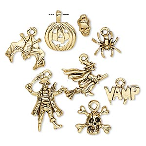charm, antique gold-plated pewter (tin-based alloy), 9x5.5mm-25x18mm assorted halloween theme. sold per 8-piece set.
