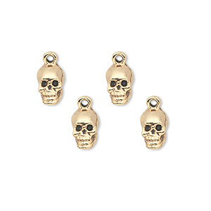 charm, antique gold-plated pewter (tin-based alloy), 9x5mm skull. sold per pkg of 4.