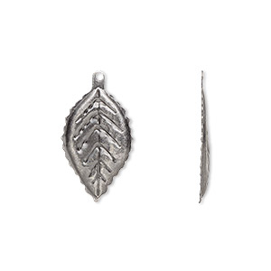 charm, antique silver-plated brass, 21x12mm single-sided curved leaf. sold per pkg of 20.