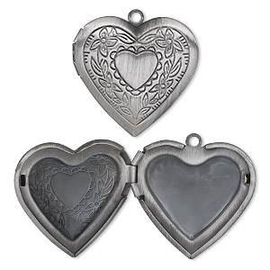 charm, antique silver-plated brass, 29x27mm single-sided heart locket with etched heart and flower design. sold per pkg of 2.