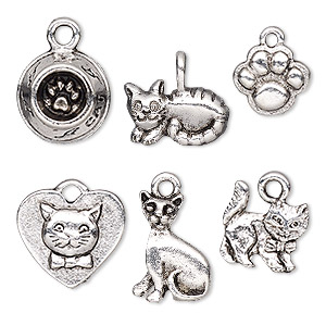 charm, antique silver-plated pewter (tin-based alloy), 10.5x9mm-15x11mm single-sided assorted cat theme. sold per pkg of 6.