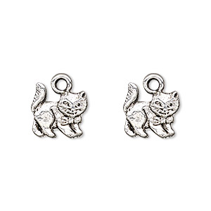 charm, antique silver-plated pewter (tin-based alloy), 11.5x11.5mm single-sided cat with bow. sold per pkg of 2.