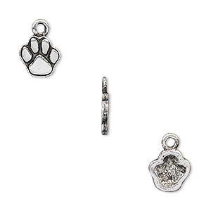 charm, antique silver-plated pewter (tin-based alloy), 12.5x9mm single-sided paw print. sold per pkg of 4.