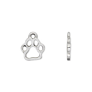 charm, antique silver-plated pewter (tin-based alloy), 13.5x11mm single-sided paw print. sold per pkg of 4.