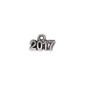 charm, antique silver-plated pewter (tin-based alloy), 13x5mm single-sided 2017. sold per pkg of 2.