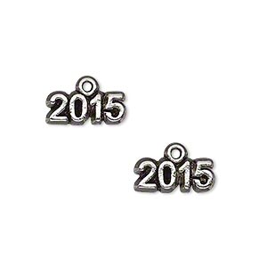 charm, antique silver-plated pewter (tin-based alloy), 14x5mm single-sided 2015. sold per pkg of 2.