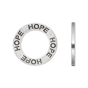 charm, antique silver-plated pewter (tin-based alloy), 22x2mm round, double-sided affirmation hope. sold per pkg of 2.