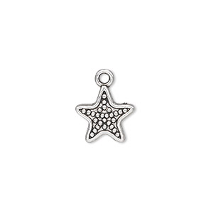 charm, antique silver-plated pewter (zinc-based alloy), 12x12mm single-sided beaded star. sold per pkg of 50.