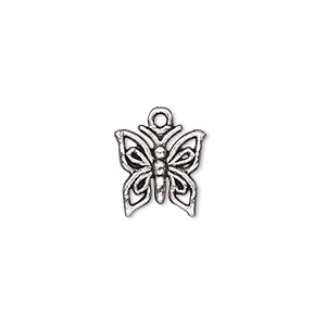 charm, antique silver-plated pewter (zinc-based alloy), 12x12mm single-sided butterfly. sold per pkg of 50.