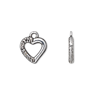 charm, antique silver-plated pewter (zinc-based alloy), 13x13mm double-sided open heart. sold per pkg of 20.