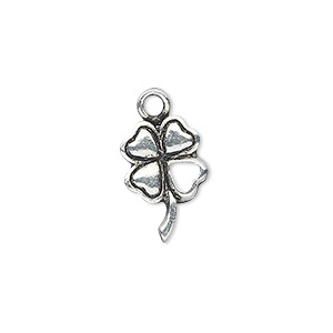 charm, antique silver-plated pewter (zinc-based alloy), 16x11mm single-sided 4-leaf clover with open leaf. sold per pkg of 10.