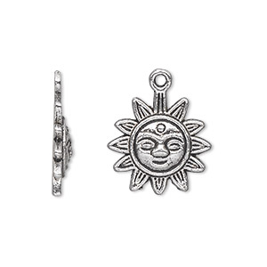 charm, antique silver-plated pewter (zinc-based alloy), 17mm single-sided sun with face. sold per pkg of 20.