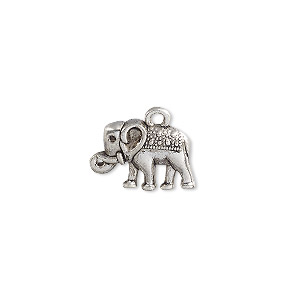 charm, antique silver-plated pewter (zinc-based alloy), 17x12mm single-sided elephant. sold per pkg of 20.
