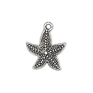 charm, antique silver-plated pewter (zinc-based alloy), 19x19mm single-sided starfish. sold per pkg of 4.