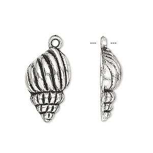 charm, antique silver-plated pewter (zinc-based alloy), 22x13mm single-sided seashell. sold per pkg of 4.