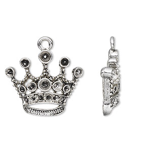 charm, antique silver-plated pewter (zinc-based alloy), 23x20mm single-sided crown with (8) pp14 / (6) pp21 / (2) pp24 settings. sold per pkg of 10.