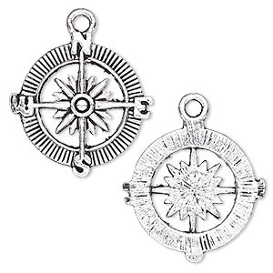 charm, antique silver-plated pewter (zinc-based alloy), 25x25mm single-sided compass rose. sold per pkg of 4.