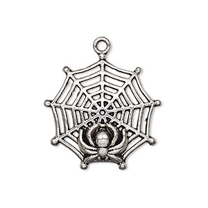 charm, antique silver-plated pewter (zinc-based alloy), 27x27mm single-sided spider web with spider. sold per pkg of 4.
