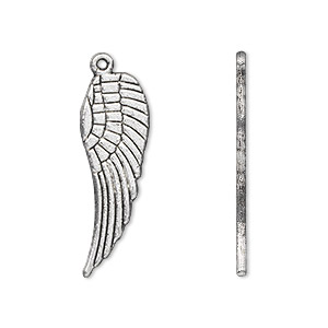 charm, antique silver-plated pewter (zinc-based alloy), 28x9mm double-sided wing. sold per pkg of 10.