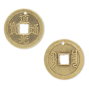 charm, antiqued brass, 23mm two-sided chinese coin replica. sold per pkg of 4.