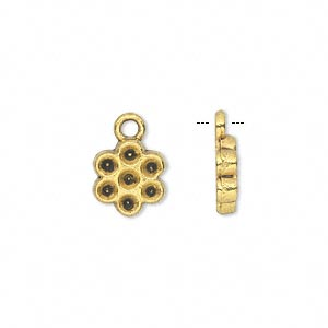 charm, antiqued gold-finished pewter (zinc-based alloy), 10x10mm single-sided flower with (7) pp21 settings. sold per pkg of 20.