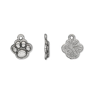 charm, antiqued pewter (tin-based alloy), 10mm paw print. sold per pkg of 4.